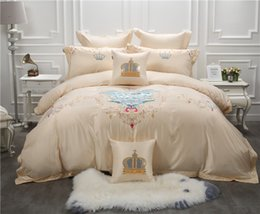 Wholesale White Embroidered Duvet Cover - Embroidered Luxury Royal Bedding sets Cotton Stain Duvet cover 4 7Pcs king queen size Bed Fit sheet set Decorative Pillow shams