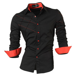 Wholesale mens white dress shirt buttons - 2018 Casual Shirts Dress Male Mens Clothing Long Sleeve Social Slim Fit Brand Boutique Cotton Western Button White Black T 2028