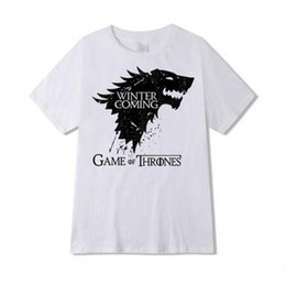 Wholesale Ice Fire T Shirt - T Shirt Wolf Printed T Shirts Camisa Masculina Game of Thrones Shirt Winter Coming Men's Tshirts A Song of Ice and Fire Tshirts