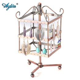 Wholesale Hole Hangers - Ayliss Vintage 96 Holes Three-layer Earring Holder Hanger Square Jewelry Rotating Rack Earring Stand Organizer Jewelry Displayer