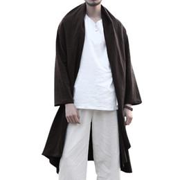 Autumn Mens Trench Cloak Chinese Style Long Sleeve Lapel Long Cardigan  Vintage Outwear Solid Baggy Cape Coat Jacket Men 2018 3XL b741ea72d