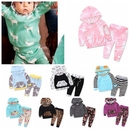 Wholesale 24 Month Christmas Outfit - Kids Tops Pants Outfits Set Hoodie Cute Animals Kids Baby Clothes Set Warm Outfits Deer Baby Boys Girls Christmas Clothes 2pcs set KKA3660