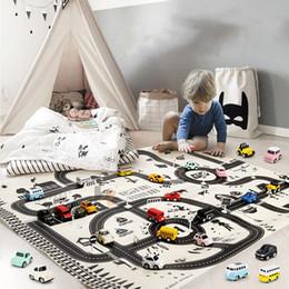2019 пластиковые блоки замка для игрушек Детская игрушка Nordic 130 * 100 увеличение детский трафик парковка карта автомобиль портативный игровой коврик Macaron цвет модель автомобиля