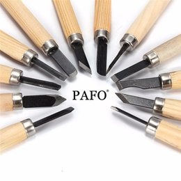 Wholesale wood chisels set - 12pcs Set Hand Wood Carving Chisels Knife Tool for Basic Woodcut Working Clay Wax DIY Tools and Detailed Woodworking Hand Tools
