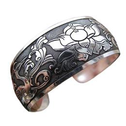 ethnischen vintage silber armband Rabatt ganze saleWomen Vintage Ethnic Style Open Schmuck Tibetischen Silber Armreif Breite Manschette Armband
