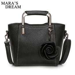 Handgemalte taschentaschen online-Mara's Dream 2018 Damen Handtasche PU-Leder Taschen Damen Tote Schultertasche Floral Quaste Messenger Bags handbemalt Design
