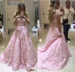Robes de soirée en dentelle rose personnalisé 2018 avec appliques de perles longueur de plancher dos nu longues robes de soirée formelles Porm ? partir de fabricateur