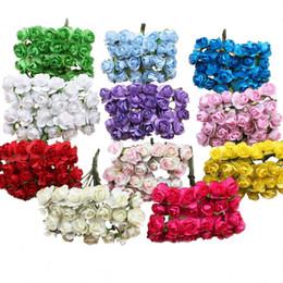 Wholesale Decorative Paper Gift Boxes - APRICOT 12pcs bundle 1cm Head Multicolor Artificial Paper Flowers Rose for Decorative Gift Wedding box Decoration