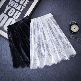Wholesale White Satin Pencil Skirt - hot Summer Women Sexy Lace Skirts Fashion Solid Casual Mesh tulle skirt Hollow Out short Pencil Elegant Black White Skirt D6
