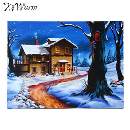 Wholesale Christmas Printing Pictures - Kiwarm LED Light Christmas Snow Houses Tree Canvas Painting Wall Art Picture Print for Home Hotel Room Decor 40x30cm Unframed