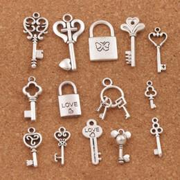 Colgantes de amor lockets online-140 unids / lote mezclar Love Key Locket Charm Beads Colgante de Plata Antigua Joyería DIY LM47 Caliente 14styles