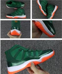 Miami kids en Ligne-enfants chaussures de garçon Big 2018 Nouveau 11 XI Miami Hurricanes 11s Vert Orange 72-10 Chaussures de basket Hommes 72 10 Hommes Baskets Athlétiques Pour Femmes Chaussures