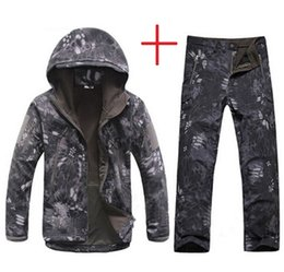 white skin jacket Coupons - Men Tactical Jacket Lurker Shark Skin Soft Shell TAD Windbreaker Kryptek Black Camouflage Waterproof Hooded Camo Hunting Clothes