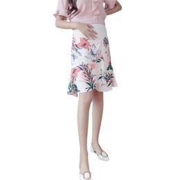 Jupes d'été pour femmes enceintes en Ligne-BONJEAN New Summer Maternité Jupe Mousseline de Soie Fleur Imprimer Jupe Enceintes Femmes Taille Haute Ascenseur Irrégulière Vêtements Enceintes