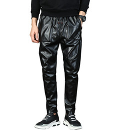 гаремная кожа Скидка Mens Punk Moto Faux Leather pants Male Drop Crotch Harem Pants Street Dance DJ Slim Joggers Drawstring Night Club trousers 71006