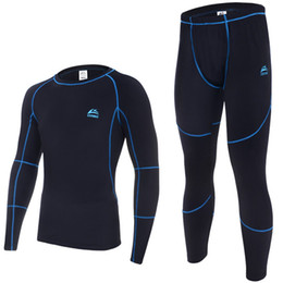 Wholesale Thermo Underwear Set - CrazyFit thermal underwear men underwear sets compression sport fleece sweat quick drying thermo men clothing