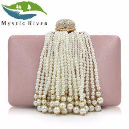 Wholesale Rivers Fashion - Mystic River Women Beaded Clutches Ladies Evening Bags Fashion Tassel Female Clutch Wedding Bag Party Purse