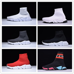 Wholesale green toe socks - Paris Designer Speed Trainer Stretch Knit Mid Black White Fashion Top Sneakers Breathable Socks Shoes Men and women Casual Shoes 35-46