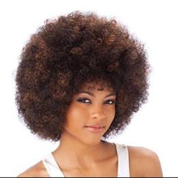 haarfarbe styles burgund schwarz Rabatt Afro verworrenes lockiges Haar Perücken kurze Haare Spathe hohe Temperatur Faser Perücken für schwarze Menschen Fußballfans