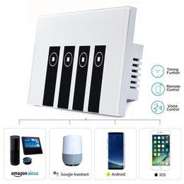 управляемый пк Скидка Smart Light Switch 4 переключателя Сенсорный настенный беспроводной пластинчатый переключатель, совместимый с Amazon Alexa APP Пульт дистанционного управления ПК Противопожарный