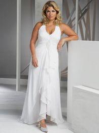 Robes de mariage simples à vendre en Ligne-Robes De Mariage De Plage De Taille Plus Pas Cher Robe De Mariée En Mousseline De Soie Robe De Mariée En Mousseline De Soie Asymétrique Robes De Mariée