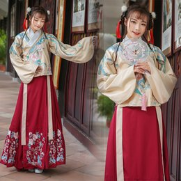 Wholesale traditional chinese woman costume - High quality materials chinese folk dance fairy costume brocade women classical hanfu costume traditional ancient china clothing