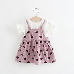 Wholesale korean outfit dress - Girls Cat Suspender Dresses+Tee Outfits Summer 2018 Kids Boutique Clothing Korean Lovely 1-4T Little Girls Short Sleeves 2 PC Set