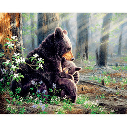 Wholesale Bear Families - NEW Diamond painting Cross stitch natural scenery full Square Diamond mosaic Bear family 5D Diamond embroidery father&son