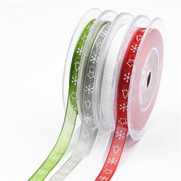 Arco de presente de organza on-line-Novo 20 Metros Impresso Organza Fita de Impressão 10mm Artesanato Bow Gift Wrapping Decoração de Natal Fita Wrap Envoltório