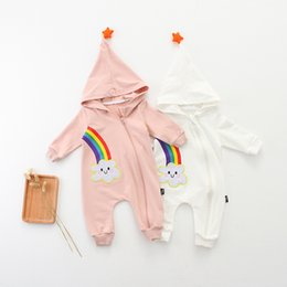 Wholesale Romper Long Sleeves Girls Boys - Baby Rainbow Hooded Romper with Star Boy Girls Cotton Spring Autumn Jumpsuit Long Sleeve Zip 0-24M