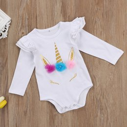 Wholesale White Jumpsuit Long - Baby Romper Gold Unicorn Printed Colorful Hair Summer Spring Autumn Baby Girls Long Sleeve Jumpsuit Cotton Pullover 0-24M