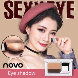 Escovas de maquiagem coreano on-line-NOVO Dois Cor Shimmer Matte Paleta De Sombras Preguiçosa Com Escova Coreano Estilo Maquiagem Dos Olhos Nu Nude Sombra de Olho Selo