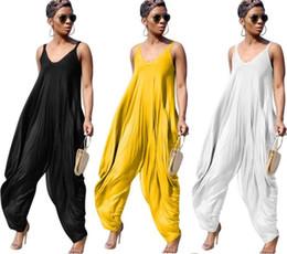 Mujeres Bañadores de entrepierna de verano Sueltas de color sólido sueltas Mamelucos Mono de moda de una correa de espagueti Monos Pantalones siameses desde fabricantes