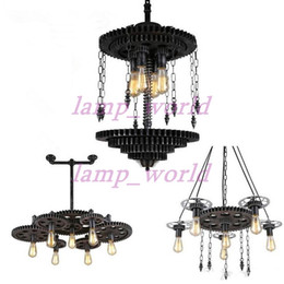 Wholesale Works Suspension - Vintage Loft Iron Gear Pendant Light Industrial Water Pipe Pendant Lamp Hanging Light Fixtures Suspension Bar Cafe Wrought Iron Pendant Lamp