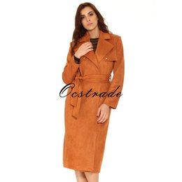 Wholesale Tan Belt For Women - Free Shipping Hot New Tan Suedette Trench Coat for Women 2016 Fashion