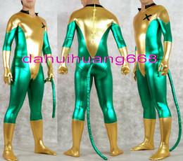 Costume vert brillant pour homme en Ligne-Lycra métallisé brillant or / vert super héros X-Men costume costume de costume unisexe fantaisie X-Men costume de corps costume Halloween Cosplay costume DH154