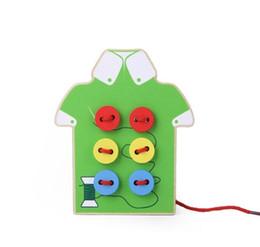 Canada Enfants bébé jouet en bois à coudre à coudre les perles de bouton de filetage Conseil de laçage préscolaire Offre