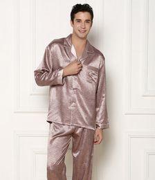 Wholesale Xxl Pajamas Men - (1 Set Lot) New Fashion, Men silk pajamas, Silk sleepwear, Homewear, Size L, XL, XXL, Long-sleeve nightdress