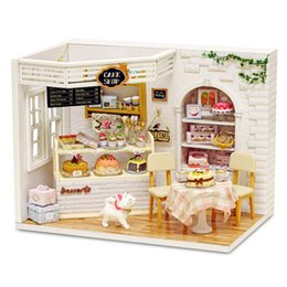 Wholesale Housing Shop - Wholesale- CuteRoom H-014 Cake Diary Shop DIY Hnadmake Dollhouse With Music Cover Light House Model Best Toy Gift For Gift Friend