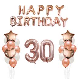Alphabetballons online-35pcs 18 30 50 Jahre alt Happy Birthday Ballons Erwachsene Alphabet Buchstaben Papier Banner 32 '' Rose Gold Anzahl Folie Ballon Dekor