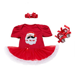 baby tutu romper red UK - Baby Christmas Romper Dress Girls Printing Red Dress With Bow Headband Xmas Pattern Romper Infants First Christmas Gifts Cute Outfits