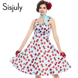 00689aa44113 All ingrosso- Sisjuly abito vintage pin up stampa floreale ciliegia  rockabilly senza maniche mini estate femminile vestito da partito degli  anni 1950 moda ...