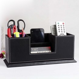 Wholesale Wood Desk Organizers - Wood Structure Leather Desk Stationery Organizer Storage Box Pencil Holder Cards Holder
