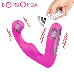 2019 вибрирующая двойная вилка Двойной вибрационный массажер простаты водонепроницаемый мощный Силиконовый анальный плагин G Spot фаллоимитатор вибратор Butt Plug взрослые секс-игрушки для мужчин Y18100802 скидка вибрирующая двойная вилка