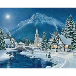 Wholesale Christmas Wall Hanging Decorations - Glacier Christmas Gifts 5D DIY Mosaic Needlework Diamond Painting Embroidery Cross Stitch Craft Kit Wall Home Hanging Decor