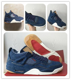 Wholesale Ups Christmas Shipping - 4 iv denim NRG Blue Jeans Basketball Shoes with original box 4s denim black LS Jeans Sports Shoes sneaker shoes boots free shipping