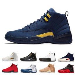 2019 12 zapatos baratos air jordan retro 12 con caja 12 hombres Zapatillas de baloncesto Vuelo internacional Michigan College Navy Bulls taxi blanco gimnasio Juego de gripe playoffs la zapatilla principal 12 zapatos baratos baratos