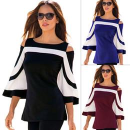 Wholesale Ladies Three Quarter Sleeve Blouses - Colorblock Black White Blouse Women Three Quarter Bell Sleeve Off Shoulder Top Shirt Spring Summer Office Women Blouses Ladies