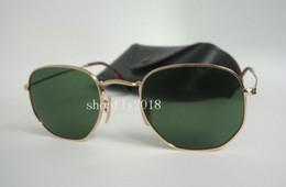 ess armbrustgläser Rabatt 1 Paar Hohe Qualität Hexagonal Metall Sonnenbrille Für Mens Womens Unregelmäßige Sonnenbrille Gold Grün 51mm Glaslinse Mit Schwarzem Fall