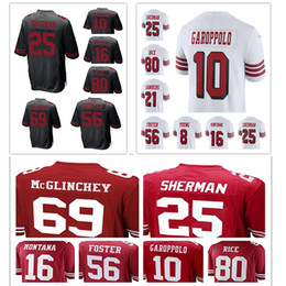 Wholesale foster jerseys - San Francisco 49er 69 Mike McGlinchey 25 Richard Sherman 10 Jimmy Garoppolo 16 Joe Montana 56 Reuben Foster 80 Jerry Rice jersey